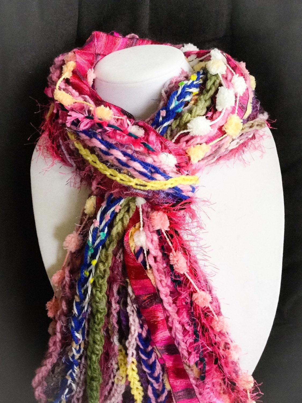 handmade scarf pink fringe scarf bright scarf fuchsia