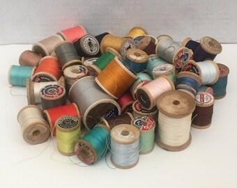 Vintage 50 + Spools of Thread on Wooden Spools