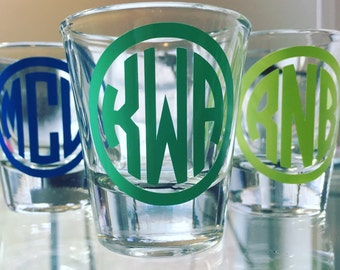 Monogrammed Shot Glass, 21st Birthday Gift