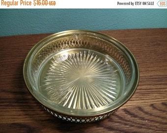 SALE - Brass & Glass Dish