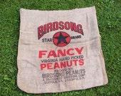 Vintage Large Burlap Sack Birdsong Peanuts Virginia Feed Bag Burlap Primitive Project Upcycle