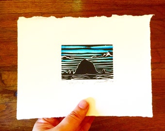 Haystack Rock Oregon - Original Color Linocut Print 5x7