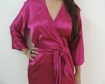 Code: H-15 Satin Solid Color Kimono Crossover patterned Robe Wrap - Bridesmaids gift, getting ready robes, Bridal shower favors, baby shower