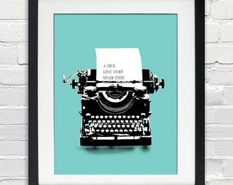 Custom Love Note and Vintage Typewriter Poster - Valentine, Wedding or Anniversary Gift, Bride and Groom, Place and Date, Bridal Shower Gift