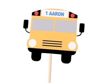1 Personalized Bus CAKE Topper - Bus Birthday Party - Wheels on the Bus Birthday - Transportation Birthday -