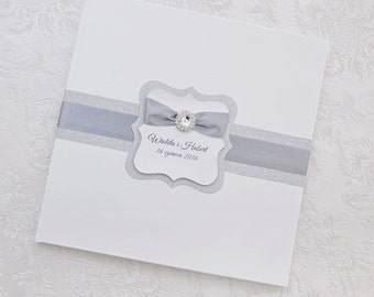 Wedding Guest Book - Personalized - silver