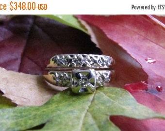 DEADsy LAST GASP SALE Antique Diamond Wedding Set, Mid Century Engagement Ring, Gold Wedding Band