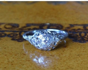 CUPID CHAOS SALE Antique Diamond Engagement Ring // White Gold Art Deco or Edwardian Diamond Engagement Ring // Vintage Engagement Ring with