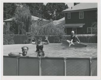 Backyard Pool, 1960s-70sVintage Snapshot Photo 8x10 (61448O/S)
