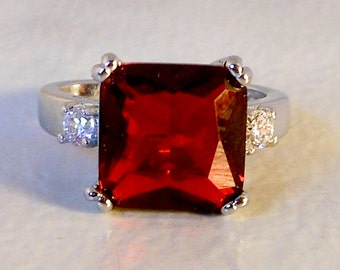 Silver Plated Glass Ruby Ring     Size 7 1/2     Bold Runway Ring