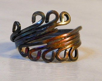 Copper Wrapped Ring   Size 6 1/2         Vintage Swirls Ring