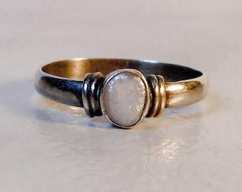Sterling Oval MOP Ring    Size 7    Bezel Set