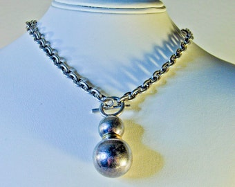 Heavy Sterling Silver Chain Pendant Necklace Choker   16 Inch   50.3 Grams  Modernist