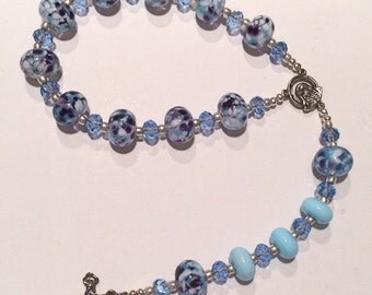 Beautiful Handmade Lampwork Single Decade Rosary Chaplet - Blue, Purple & White Lampwork Beads Along with Blue Crystals