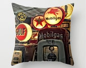 Large Throw Pillow COVER ONLY Vintage Retro Antique Gas Pumps