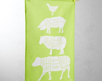 Butcher Tea Towel - tea towel - cow towel - Gift for him - father day gift - Green Tea towel - kitchen gift - meat cuts - kitchen linen