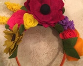 Authentic Frida Kahlo / Catrina/Mexico flower headband. Day of the dead hair piece.