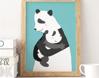 Panda Bear, Panda mom, Panda baby, Panda Bear Print, Panda Bear Art, Panda Decor, Panda Wall Art, Panda love, Panda family, Cute Panda mum