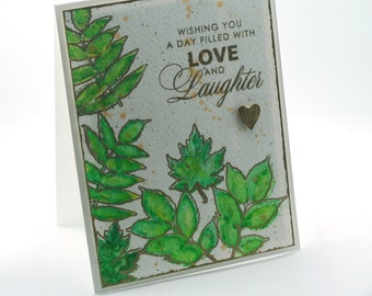summer green leaves, love and laughter blank card, ferns, foliage, nature botanical, birthday cards