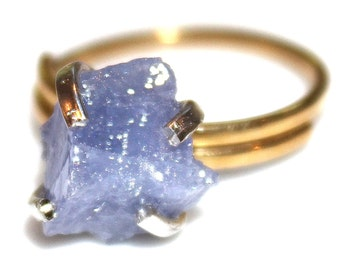 Rustic Tanzanite Ring Modern Ring Raw Tanzanite Ring Tanzanite Nugget Ring Mixed Metal Ring Adjustable Ring Tanzanite Jewelry Delicate Mod