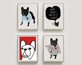 French Bulldog gifts Print Set of 4 art prints- Art print by nicemiceforyou