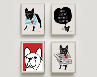 French Bulldog gifts 4 MINI PRINTS Set of my bestselling illustrations as A5 size Signed by hand. - Art print by nicemiceforyou