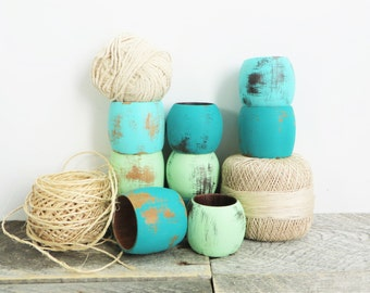 Napkin Rings - Mismatched Beachy Chic - Turquoise Mint Teal - 10 - Cottage Chic - Hostess Gift