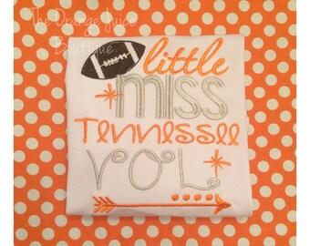 Little Miss Tennessee Vol shirt- ruffle shirt- tennessee football- m2m sew sassy