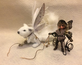 OOAK miniature fairy fantasy pet squirrel chipmunk baby art doll sculpture cicada butterfly wings team fest enchanted etsy spooky cute