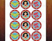 Wonder Woman Themed Baby Shower Cupcake Topper Cutouts- Digital Instant Download