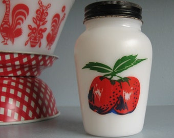 Vintage Fire King Apples & Cherries Range Shaker, Milk Glass Shaker
