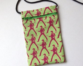 Pouch Zip Bag ELVIS on Green Fabric.  Great for walkers, markets, travel.  Cell Phone Pouch. Small green fabric purse. cross body pouch
