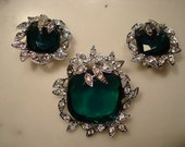 Sarah Coventry Holiday Ice Emerald Brooch and Earring Set
