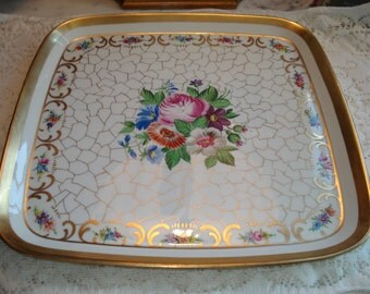Dresden Style Hand Painted and Gilded Square Platter