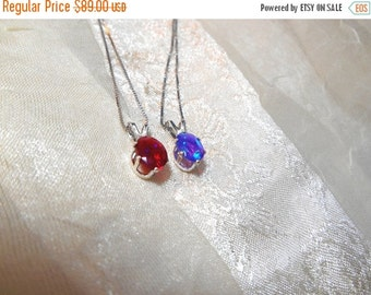 20% SALE Red or Blue Opal Necklace Handmade Jewelry