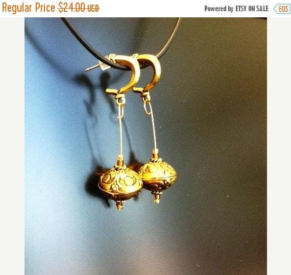 20% SALE Big Brass Balls Dangle  Earrings
