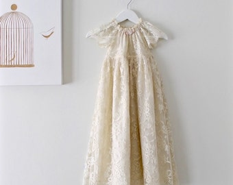 Baby Baptism Dress-Heirloom French Lace Couture Christening Gown-Special Occasion-Children Clothing by Chasing Mini