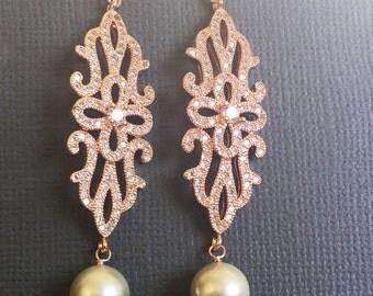 RoseGold filigree Earrings, Wedding earrings, Sparkling Long Pearl earrings, Made of Honor earrings, dangling Jewelry