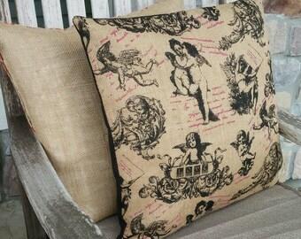Natural, Black and Pink Cherub & Rose Burlap Pillow Cover - Various Sizes