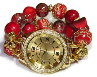 Red and Gold Beaded Watch - Red and Gold Apple Watch Band - BeadsnTime - Unique Watch - Bracelet Watch - Valentines Day Gift - Beaded Watch