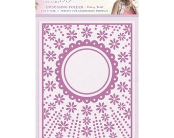 DAISY TRAIL EMBOSSING FOLDeR  - Sara Davies - 5x7  IMPoRTED Embossing Folder - Cute Card Maker for Weddings, Valentines