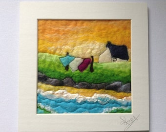 Textile art, felt picture, wet felted, ready to frame