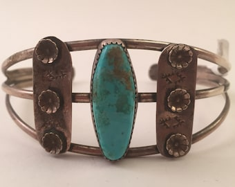 Vintage Pawn Navajo Turquoise Cuff
