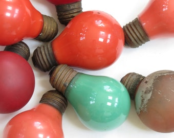 Vintage Light Bulb Collection - Old Light Bulb Collection - Colored Light Bulb Collection - Red and Green Light Bulbs - Boho Decor