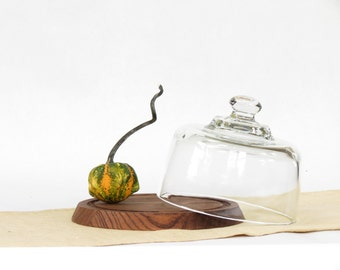 Vintage Glass Cloche and Cheese Board - Vintage Covered Cheese Board - Vintage Glass Cover - Vintage Cheese Serving Board