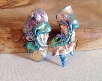 Vintage Handmade Metallic Sculpey Staement Earrings Boho Goddess