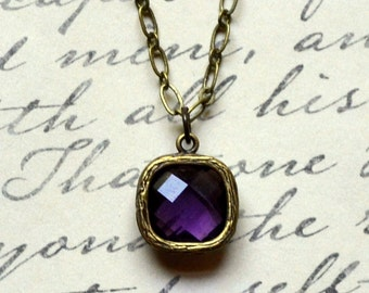 Amethyst Square Antique Bronze Necklace Purple Crystal Feminine February Glass Birthstone Faceted Minimalist Fashion Jewelry Free Shipping
