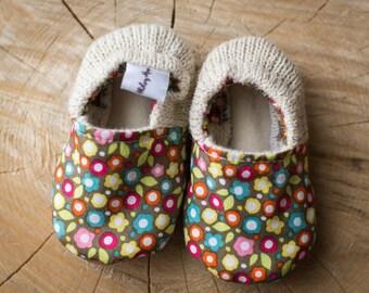 pantoufles pour bébé, fleuris, en alpagas, baby slipper alpaca