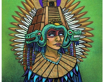 Queen of Mictlan, 8x10 Print, Aztec Mythology, Mictecacihuatl, Queen of Underworld, Mexican Queen, Day of the Dead Goddess, Mexican Legend