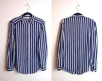 Vintage Silk Navy Blue Striped Button Up Long Sleeve Blouse with Front Pocket